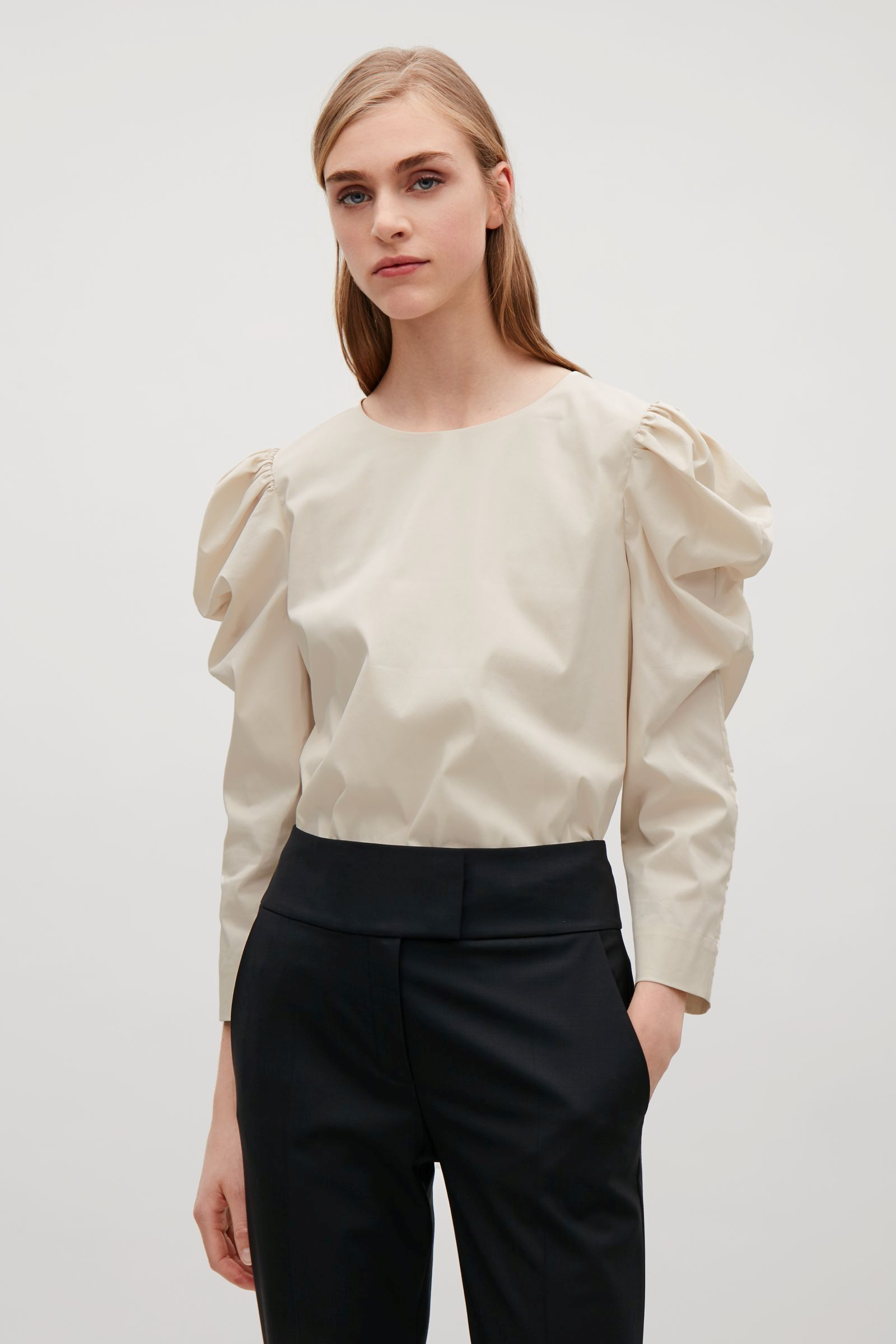 06997b8eea94 COS image 2 of Blouse with structured sleeves in Ivory | COS TOPS ...
