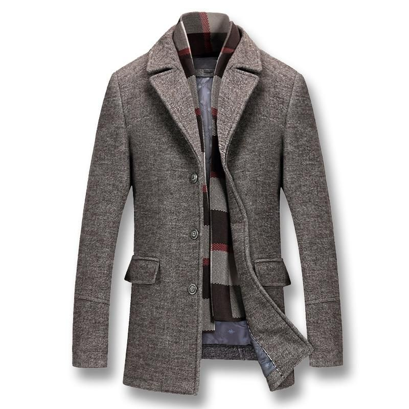 Details about Mens Wool Blend Trench Coats Stand Collar Slim Fit Casual Parka Mid Long Jacket