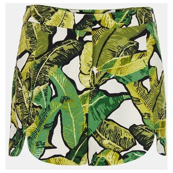 Topshop Banana Leaf Shorts ($30) ❤ liked on Polyvore featuring shorts, skirts, topshop shorts, rayon shorts and topshop