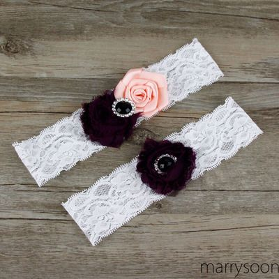 Burgundy and blush pink lace wedding garter set, wine wedding