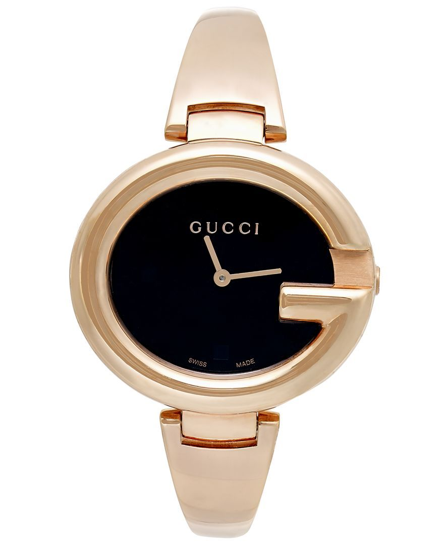 Gucci Women s Swiss Guccissima Rose Gold-Tone Pvd Bangle Bracelet Watch  36mm YA134305 230e106201