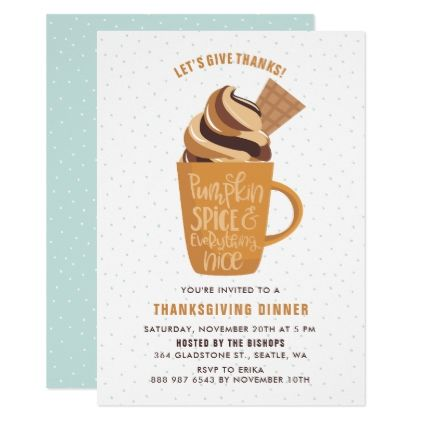Pumpkin Spice Latte Thanksgiving Party Invitation  Thanksgiving