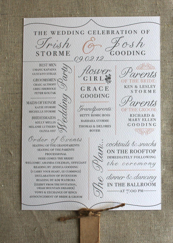 Creative Wedding Program Fan. $2.00, Ruby the Fox Design | Weddings ...