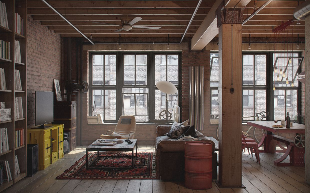 Cool Loft Apartment industrial interior design: den-loft (the perfect man-cave
