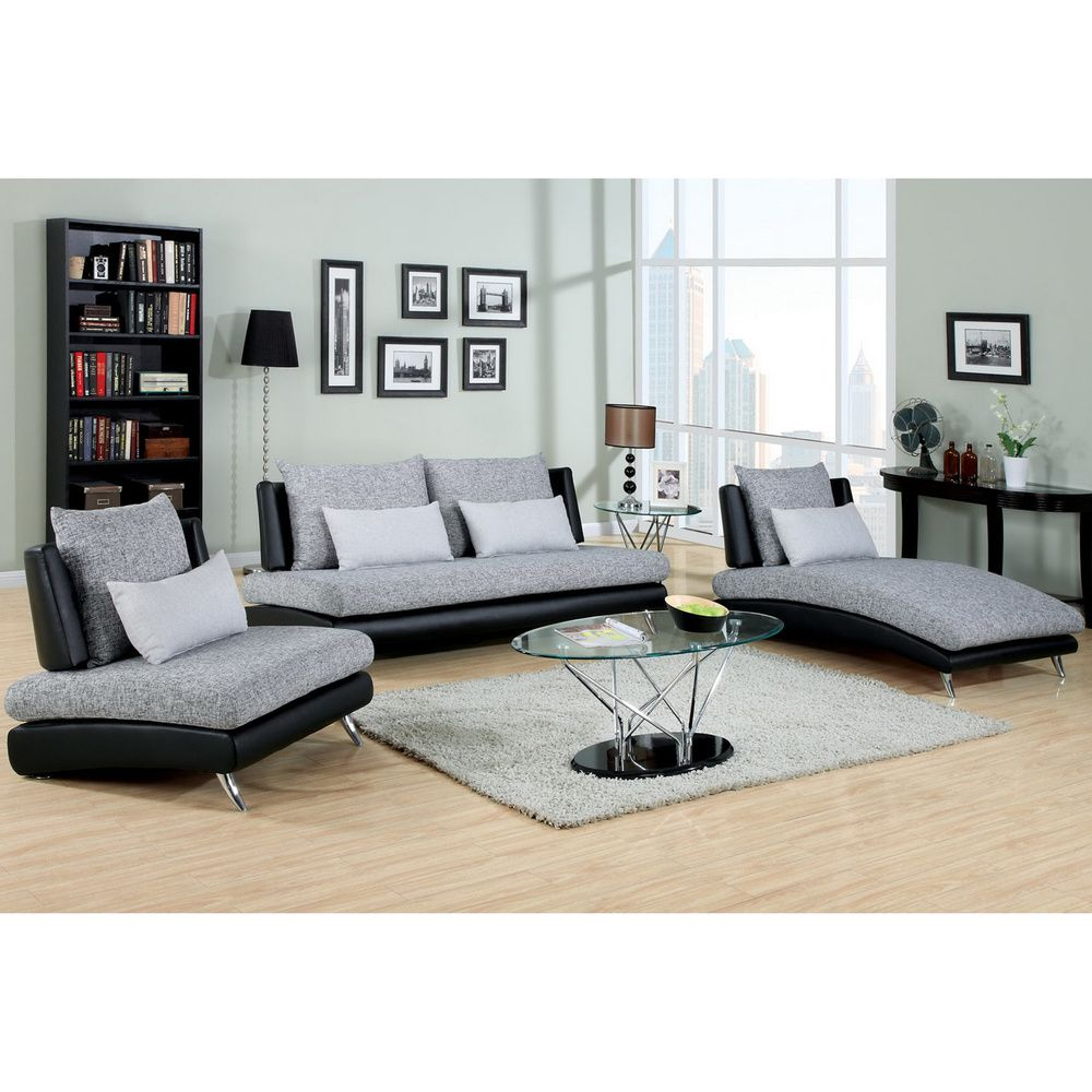 Overstock Living Room Furniture Furniture Of America Kanchy Contemporary 3 Piece 2 Tone Fabric