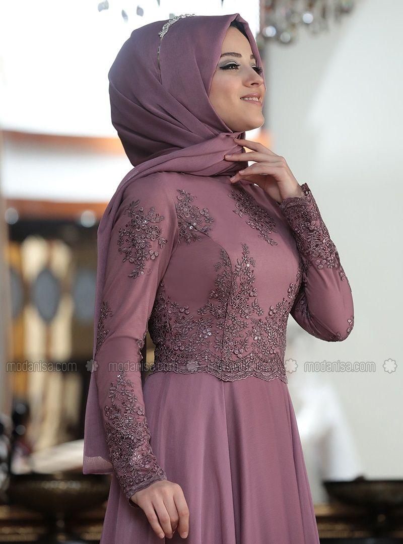 Dusty Rose - Fully Lined - Crew neck - Muslim Evening Dress -   12 dress Hijab evening ideas