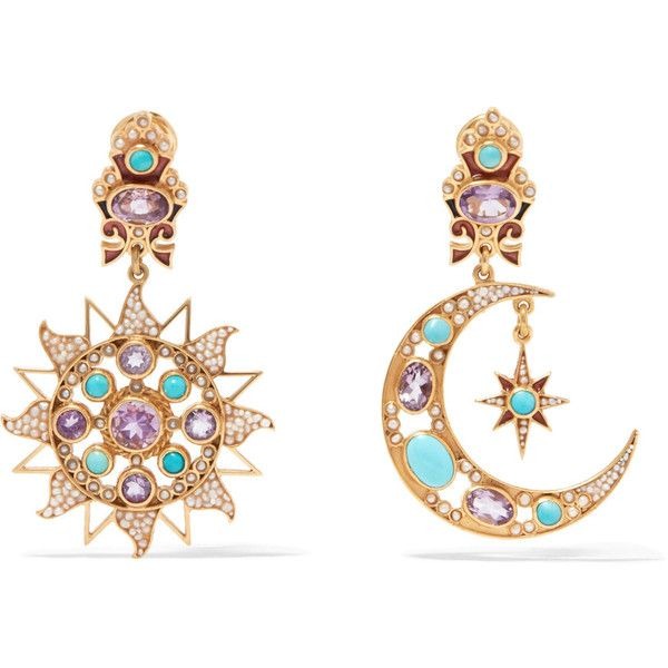 Percossi Papi Gold-plated Multi-stone Clip Earrings - Turquoise cAaFuMH
