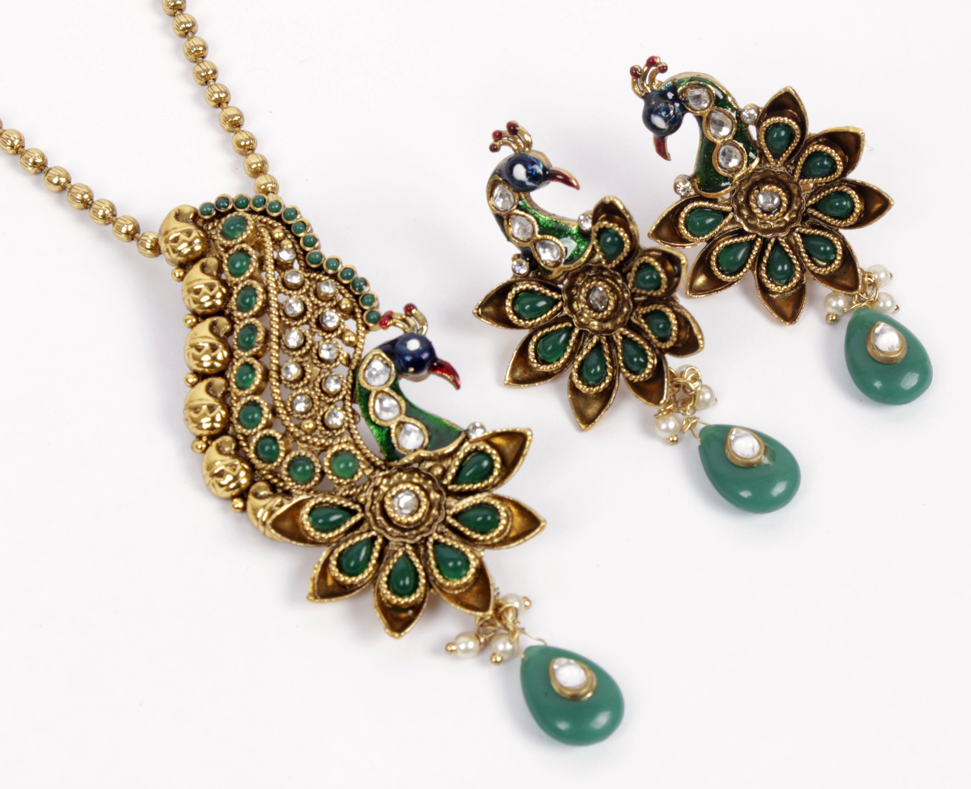 Gold stone pendants gold plated pendant set peacock splendor