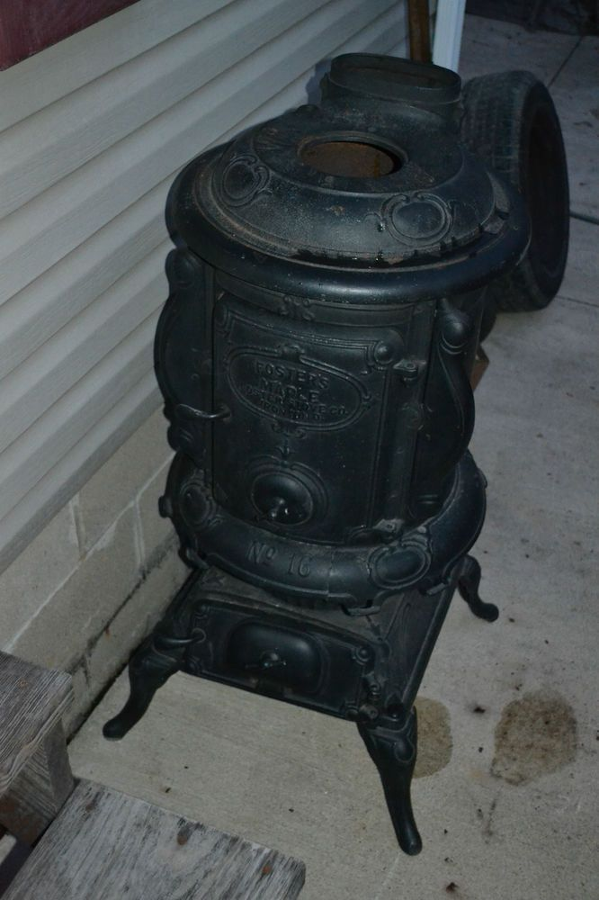 Antique Cast Iron Fosters Maple No 16 Pot Belly Stove Fireplace Wood Burner Pot Belly Stove Antique Wood Stove Stove