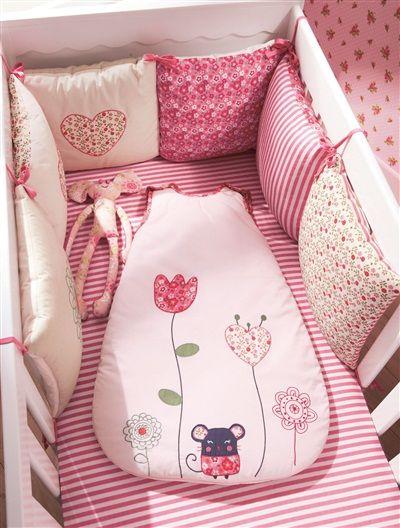 Tour de lit bébé modulable chambre souris\'zette ROSE MOYEN ...