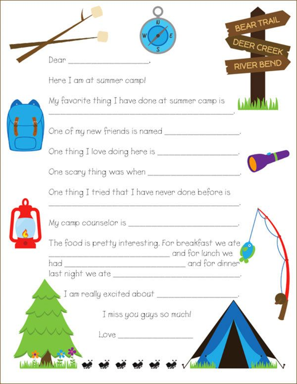 Printable Camp Letter Template Camp Letters Camp Stationery