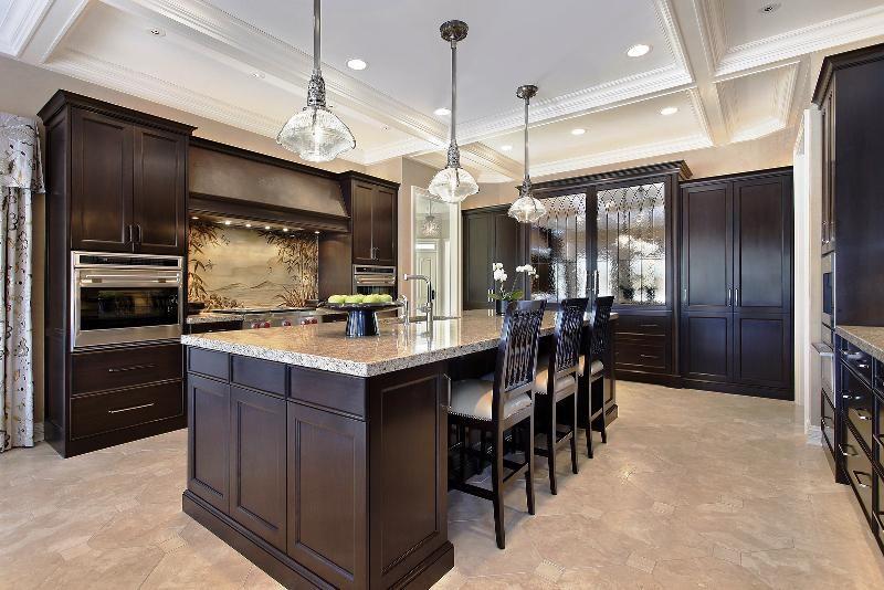Black Walnut Kitchen Cabinets Light Countertops | Luxury ...