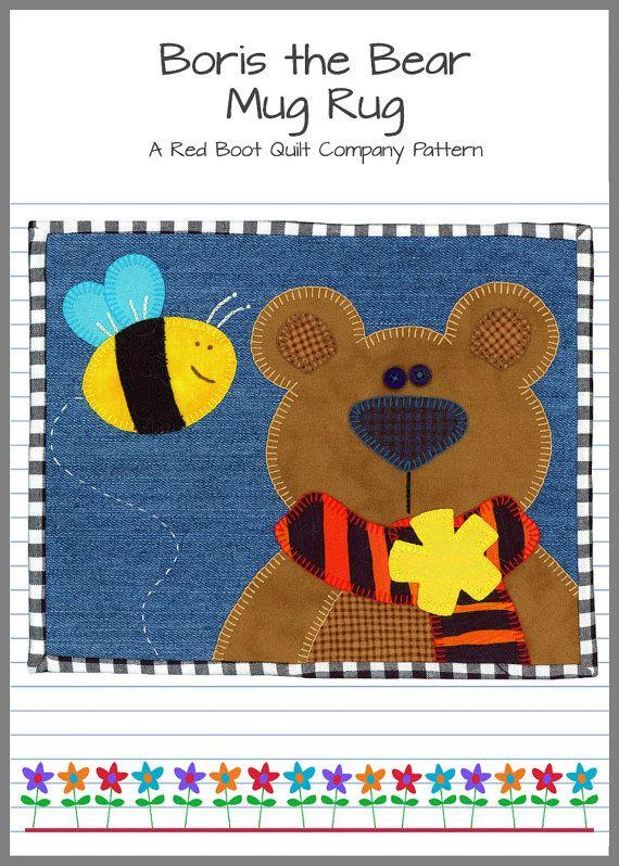 Boris the Bear Mug Rug PDF Pattern
