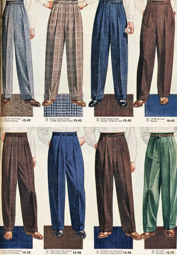 I loved these men's slacks. I guess because my Dad wore them....(aw) Sears, Roebuck and Co. Catalog from 1948!