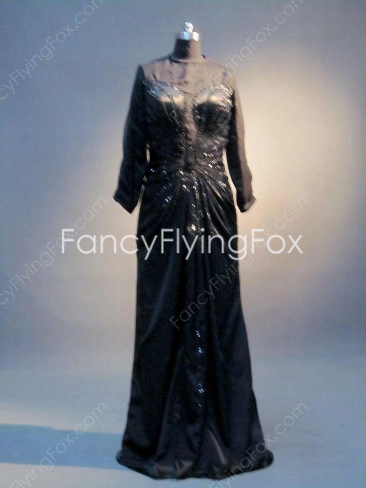 Black Long Sleeves Prom Dress for Mature Women at fancyflyingfox.com
