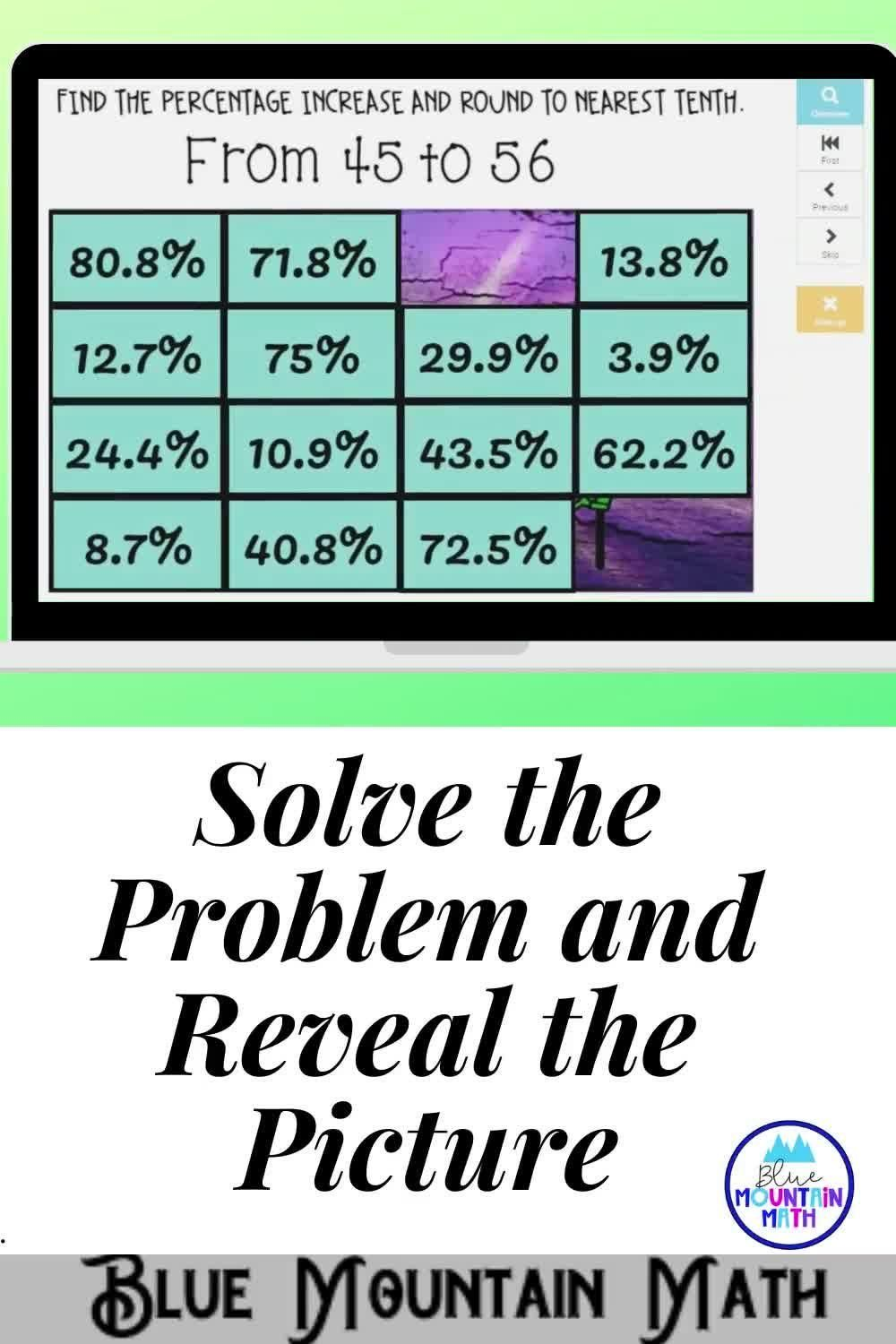 Percentage Increase Decrease Picture Reveal Boom Cards Digital Task Cards Video Collaborative Learning Activities Study Skills Struggling Students [ 1500 x 1000 Pixel ]