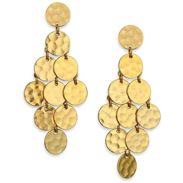 Stephanie Kantis Shimmer Chandelier Earrings found on Polyvore featuring jewelry, earrings, apparel & accessories, gold, diamond earrings, disc jewelry, pandora jewelry, 24 karat gold earrings and womens jewellery