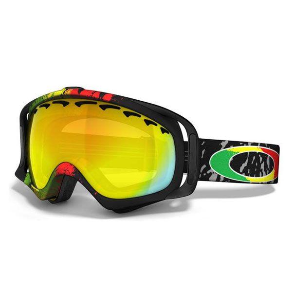 oakleys snowboarding goggles  Oakley Crowbar Snow Goggles - Tanner Hall - Rasta Mane/Fire Irdium ...