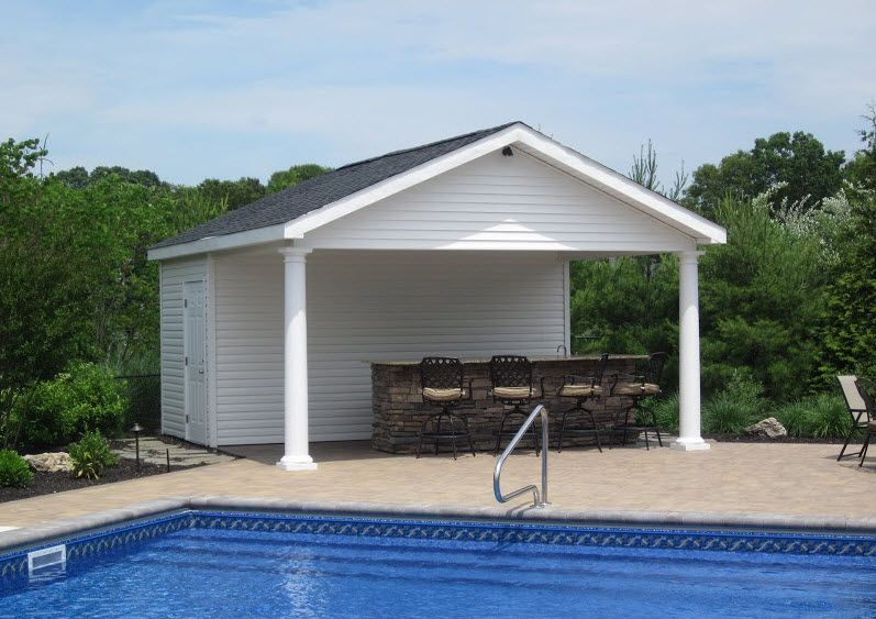16 39 X 18 39 Pool House With Outdoor Bar Bathroom And