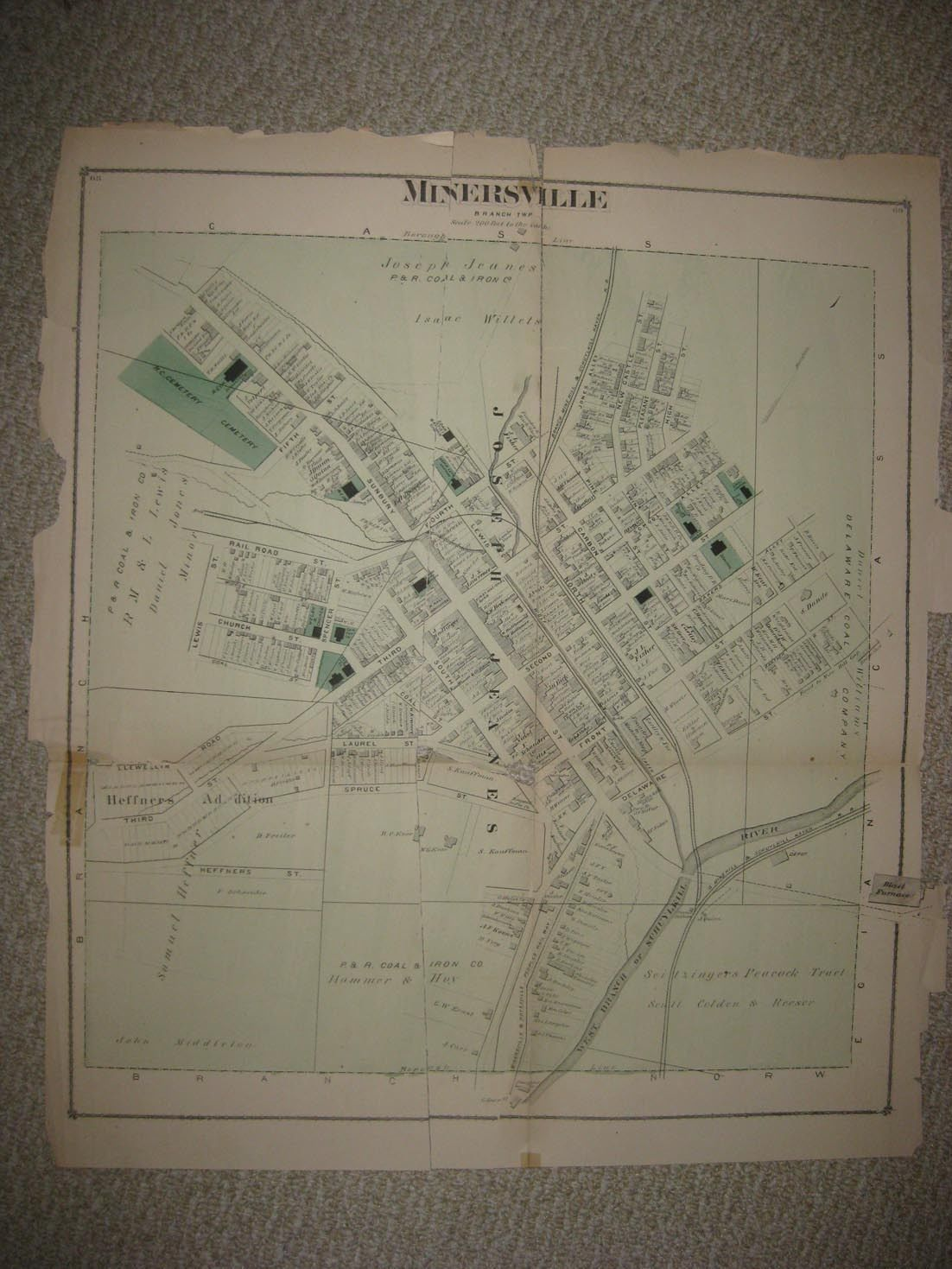 Huge Antique 1875 Minersville Schuylkill County