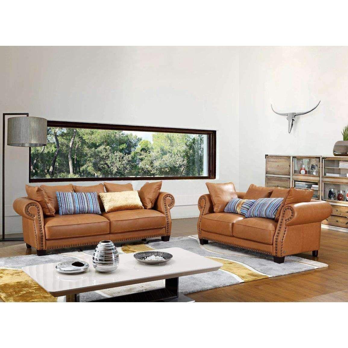 Divani casa transitional beige italian leather sofa set