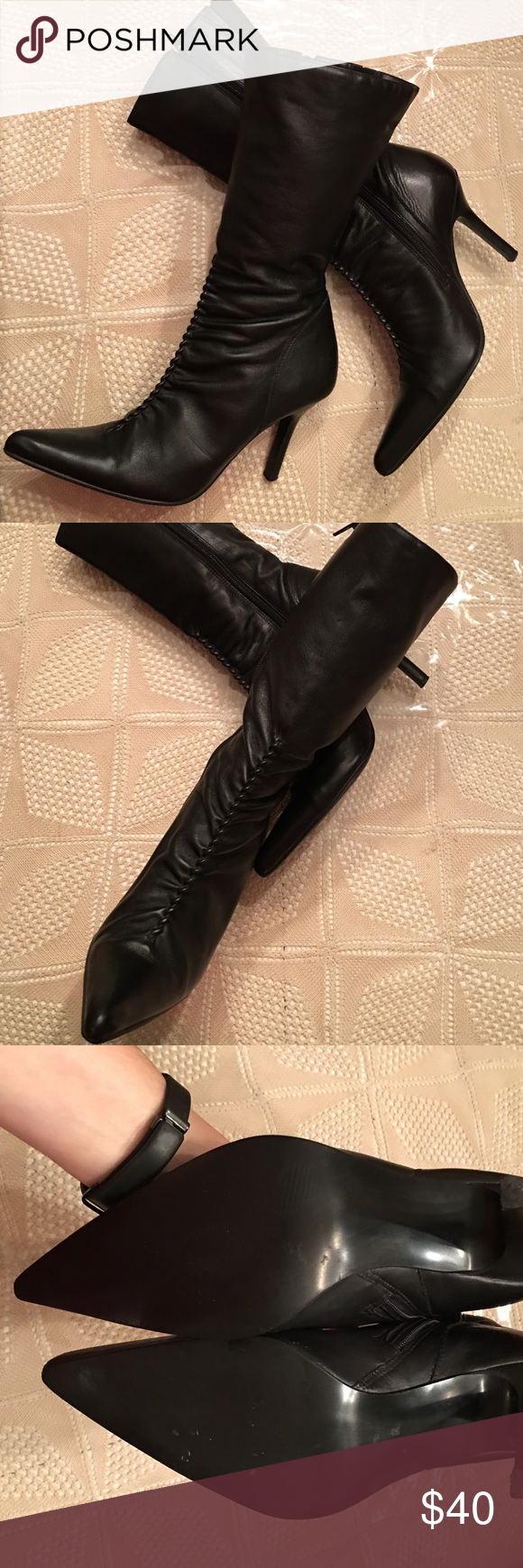 Well taken care of. Leather is flawless Steve Madden Shoes Heeled Boots