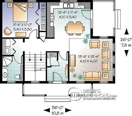 W3519 - Maison style transitionnel ou chalet avec mezzanine, 3 - plan de maison design