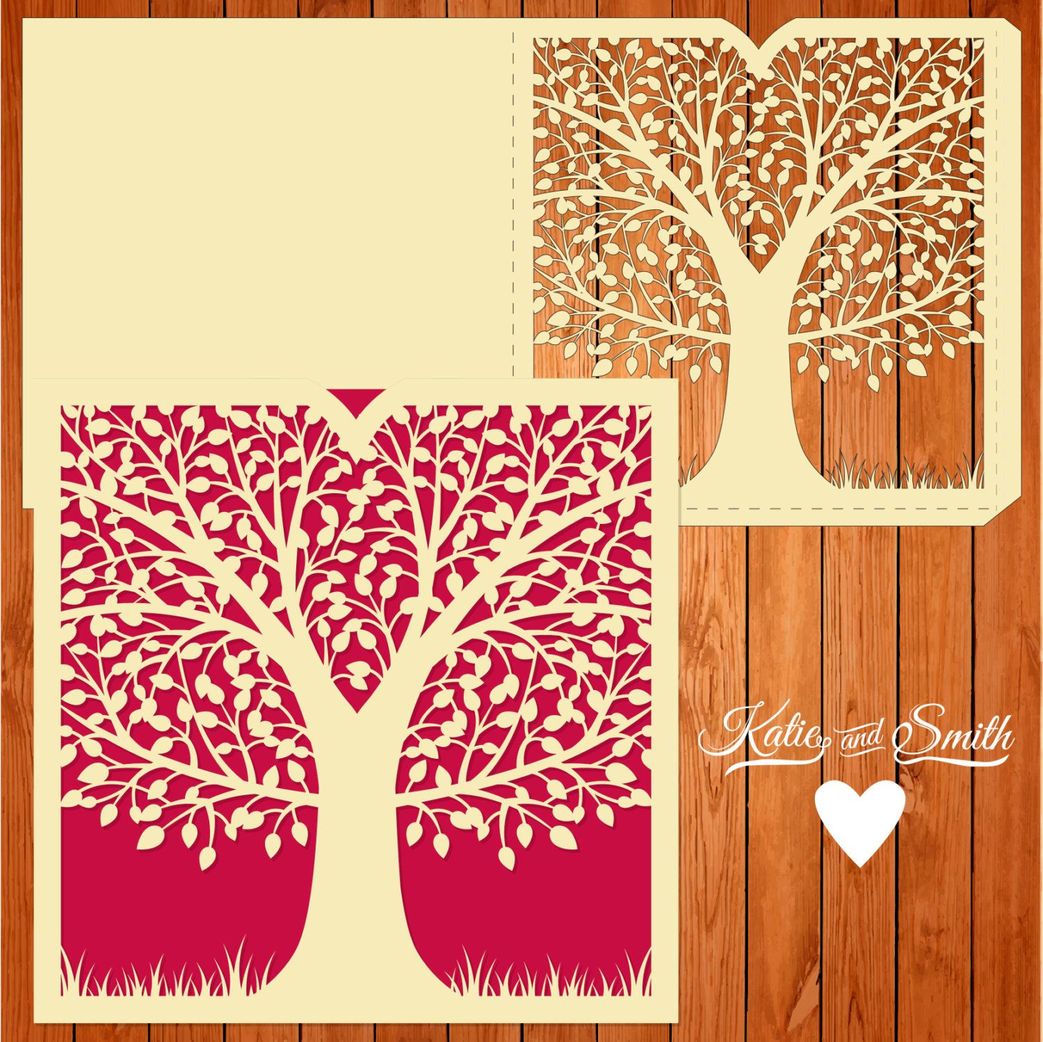 Wedding card invitation template, figures, tree, branches, leaves ...