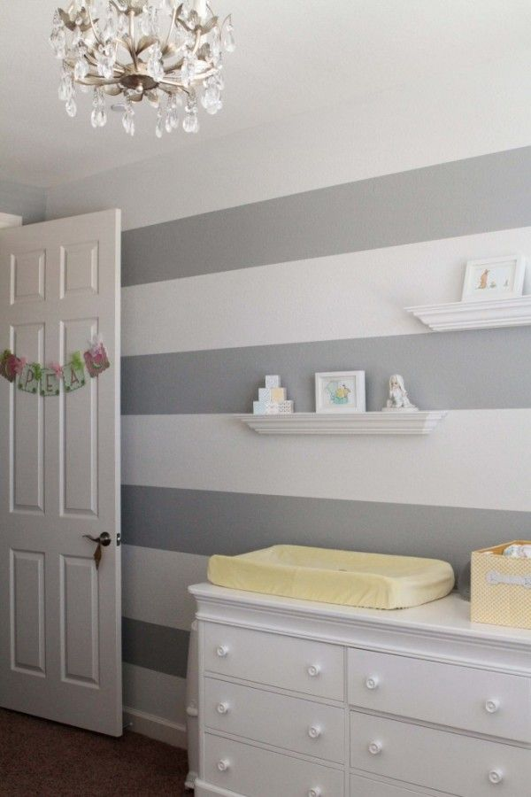 Grey And White Striped Nursery Kids Room Paint Grey Striped Walls
