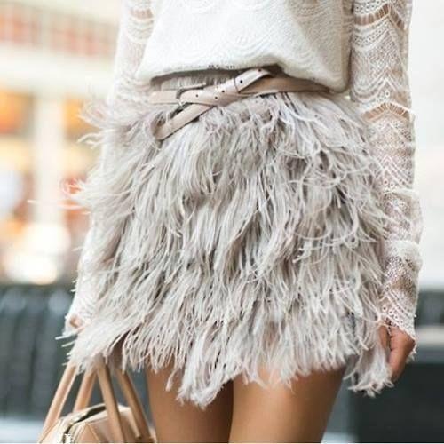 Feathered mini skirt.