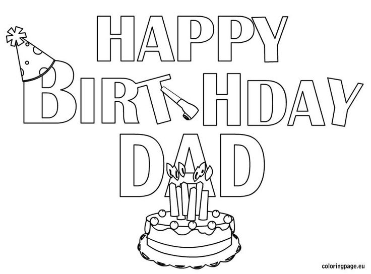 happy birthday coloring pages for dad google search