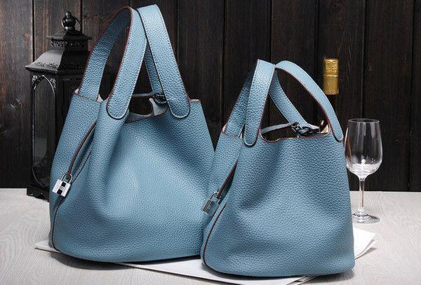 Handmade Leather bucket bag shopper bag blue purple for women leather tote bag