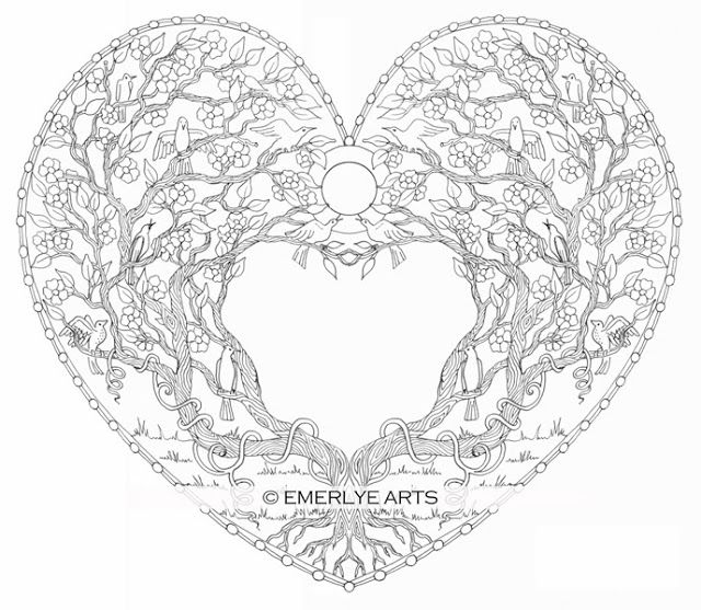 Love Tree Heart - an adult coloring page in the Open Heart - new love heart coloring pages to print