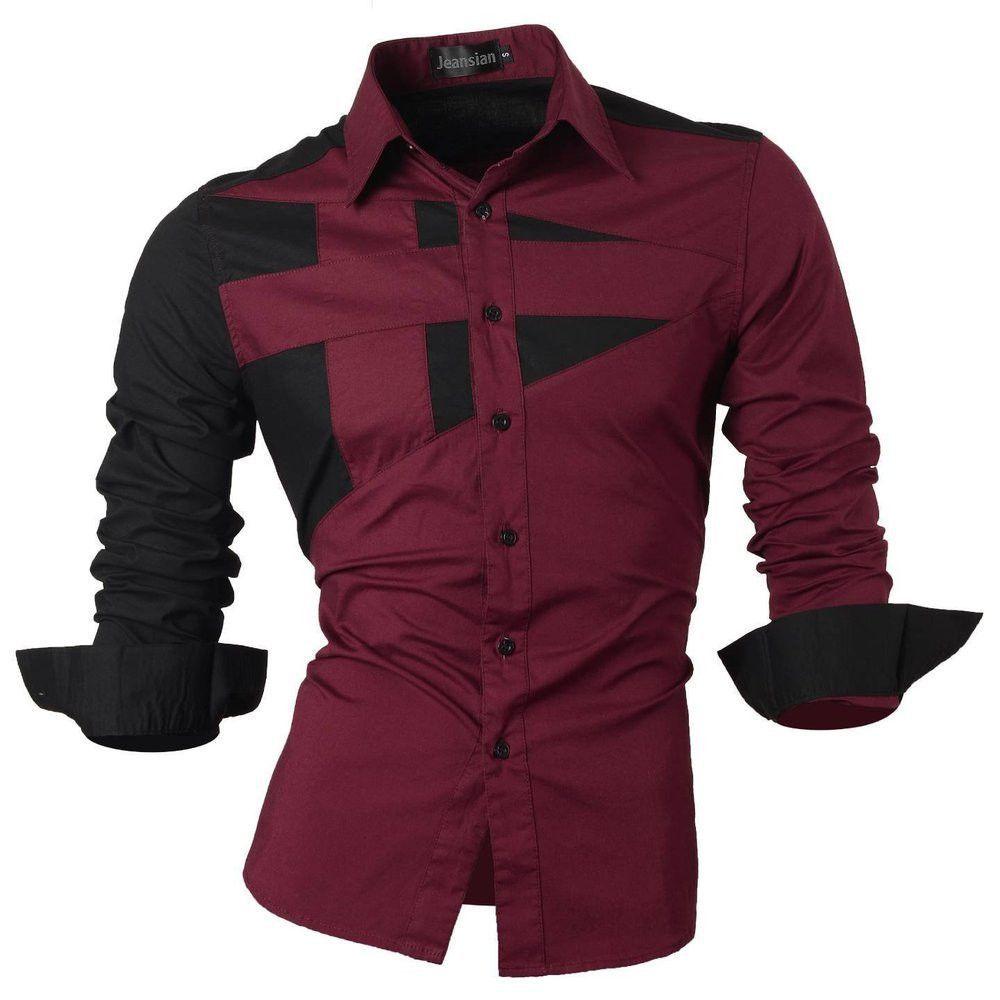 Shirt design on sleeve - Long Sleeve Men Double Color Stitching Design Shirt Man Dress Shirt