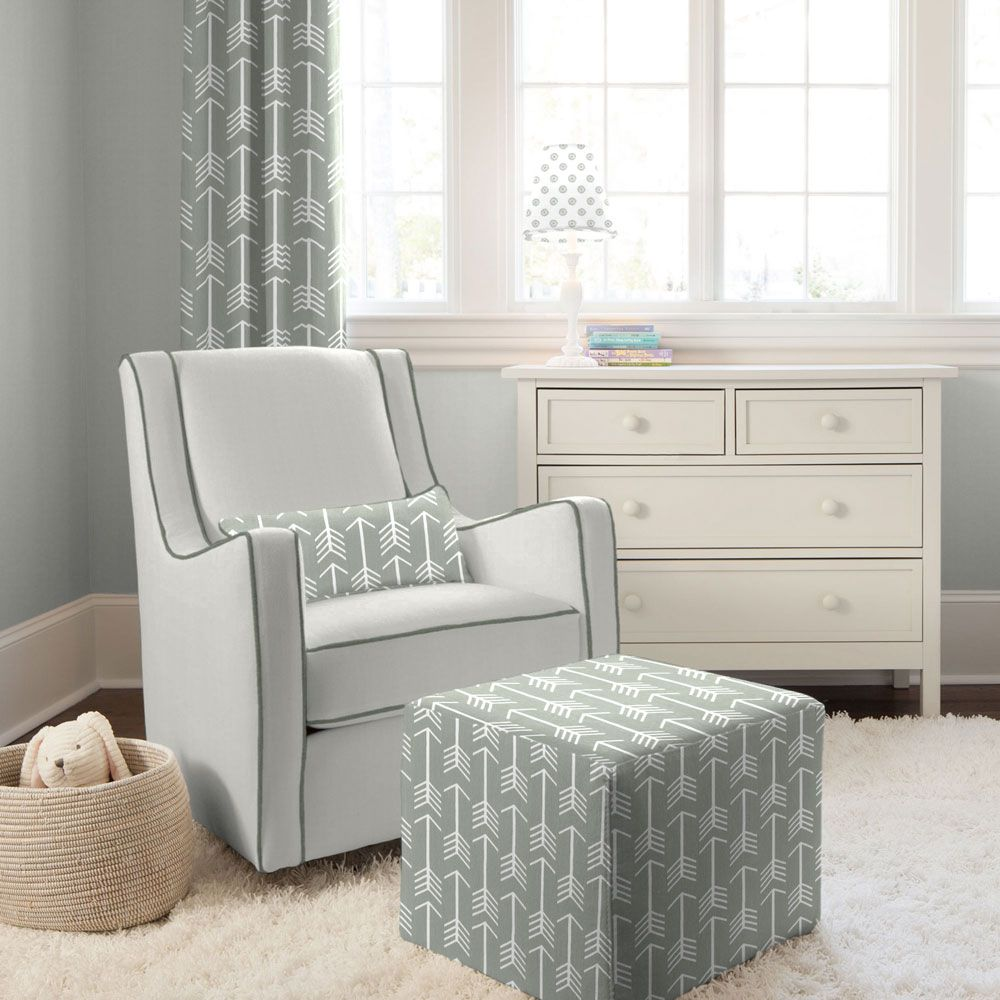 Little castle transition white leather swivel glider - Gray And Slate Modern Glider With Gray Arrow Pillow I Carousel Designs Slick Lines And