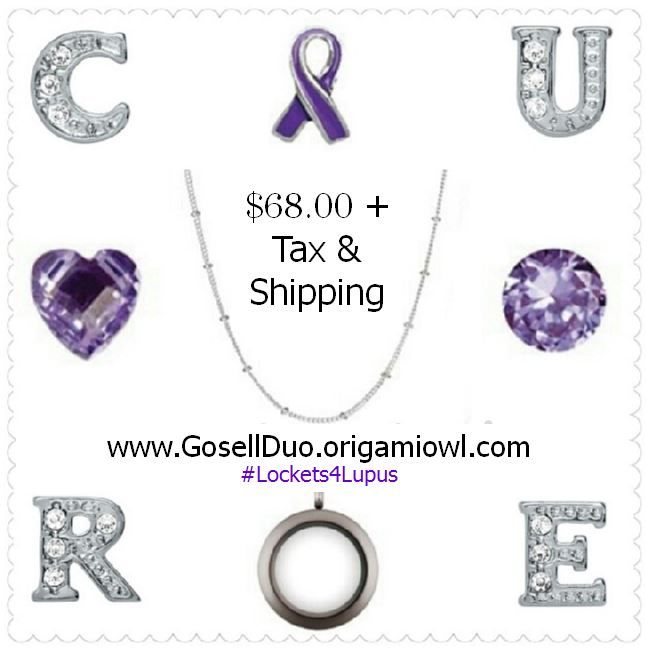 May is Lupus Awareness Month and the Origami Owl Gosell Duo is being a Force for Good. We have teamed up with the Lupus Society of Illinois.  During the month of May, we will be donating 25% of sales to the Lupus Society of Illinois, where every dollar raised ensures that the Lupus community will continue to receive the programs and services they need at NO COST to them.  Show your support and shop today http://gosellduo.origamiowl.com/parties/Lockets4Lupus327451/collections.ashx