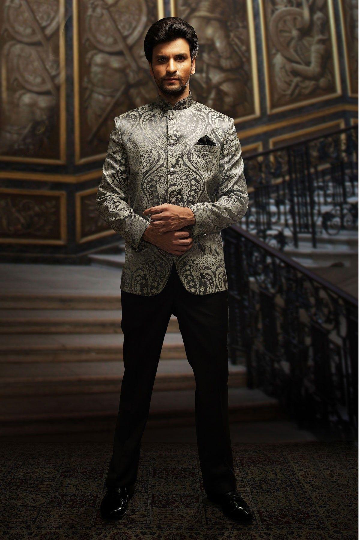 Silver & black coloured Velvet Men\'s wedding Suit online shopping ...