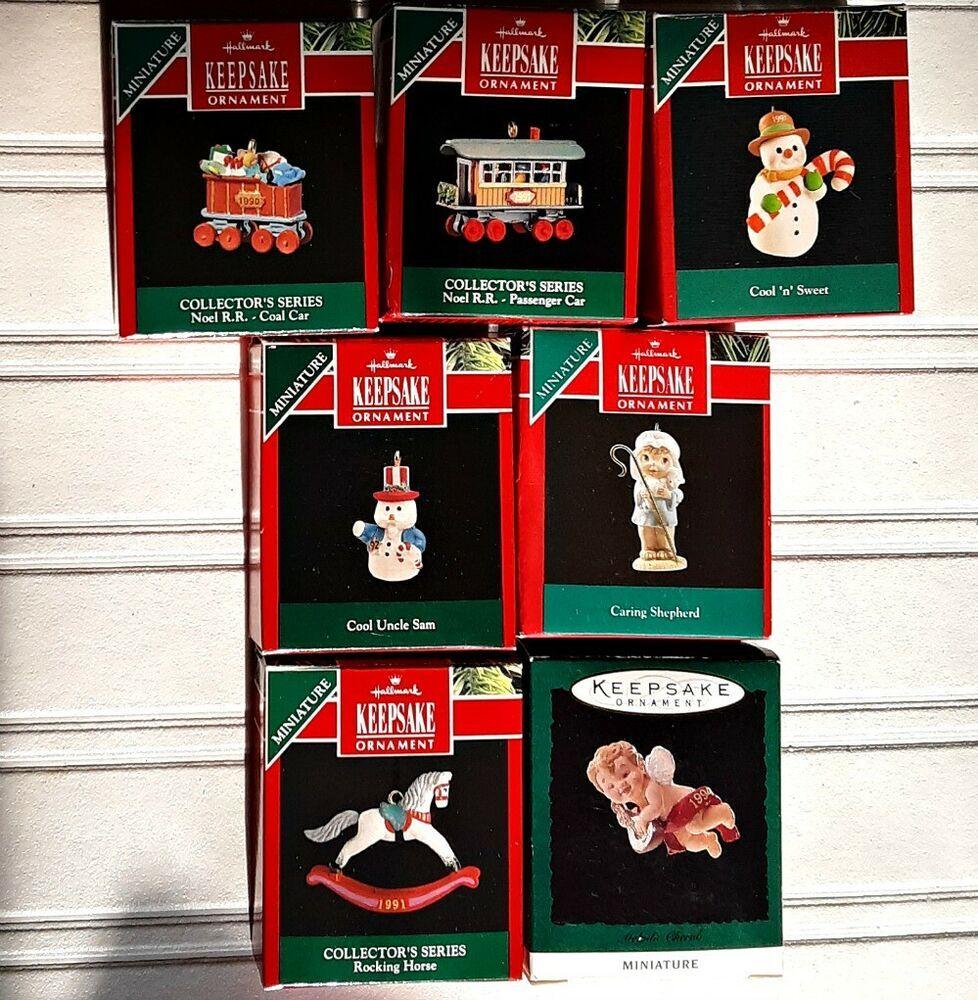 2020 Hallmart Christmas Ornaments 7 Hallmark Miniature Ornaments 1990 1991 1992 1994 in 2020