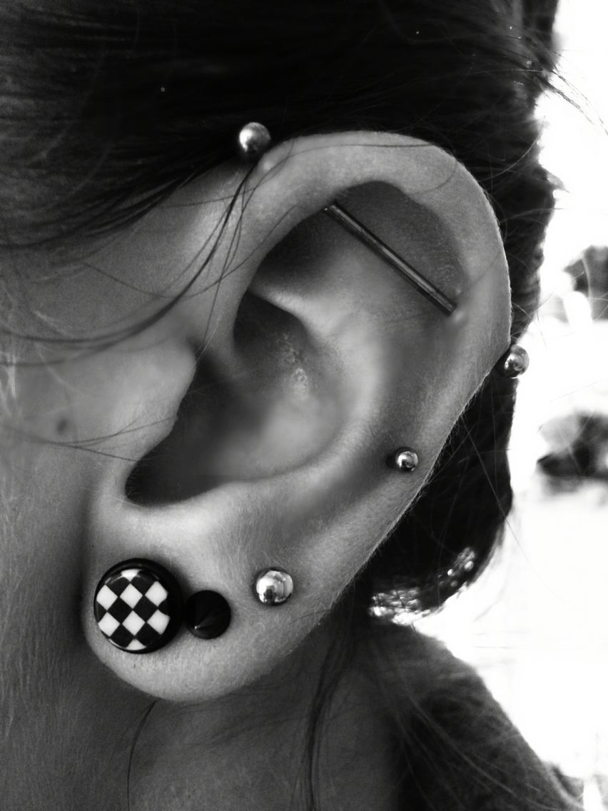 Triple Lobe Mid Helix And Industrial Piercing Fake Tunnel