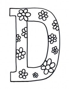 Flowered Letter D Coloring Page