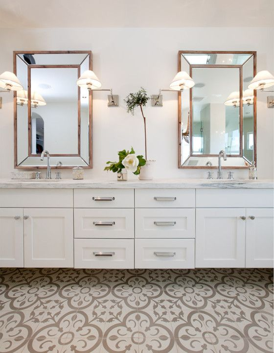 Web Image Gallery A Granada Tile Normandy Cement Tile Floor Brings Elegance To A Luxury Bathroom Renovation