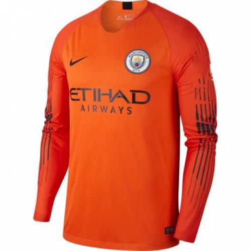5f7f1b1dd3c 18-19 Manchester City Goalkeeper Orange Long Sleeves Jersey Shirt ...