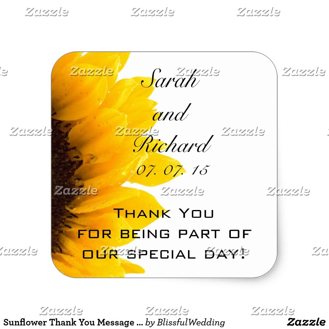 Sunflower Thank You Message Wedding Favor Stickers | Favors ...