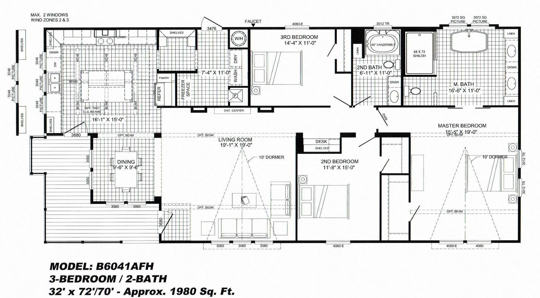 3 Bedroom Floor Plan B 6041 Lulamae Hawks Homes Manufactured Modular Conway Litt Mobile Home Floor Plans Bedroom Floor Plans Farmhouse Floor Plans