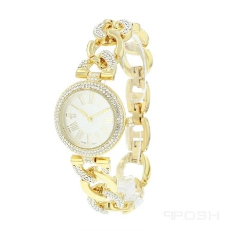 - Elegant roman numeral face design  - Plated in a gorgeous gold tone  - Face features exclusive POSH design  - Bracelet and full casing made in stainless steel  - Embellished with sparkling clear stones  - Water resistant up to 5 ATM  - Extra links available  - Japanese movement  - Hypoallergenic    Dimensions  Face: 20mm diameter      POSH by FERI - Passion for Fashion - Luxury fashion jewelry for the designer in you.    ww.feridesignerlines.com/nancymcleod | Shop this product here…