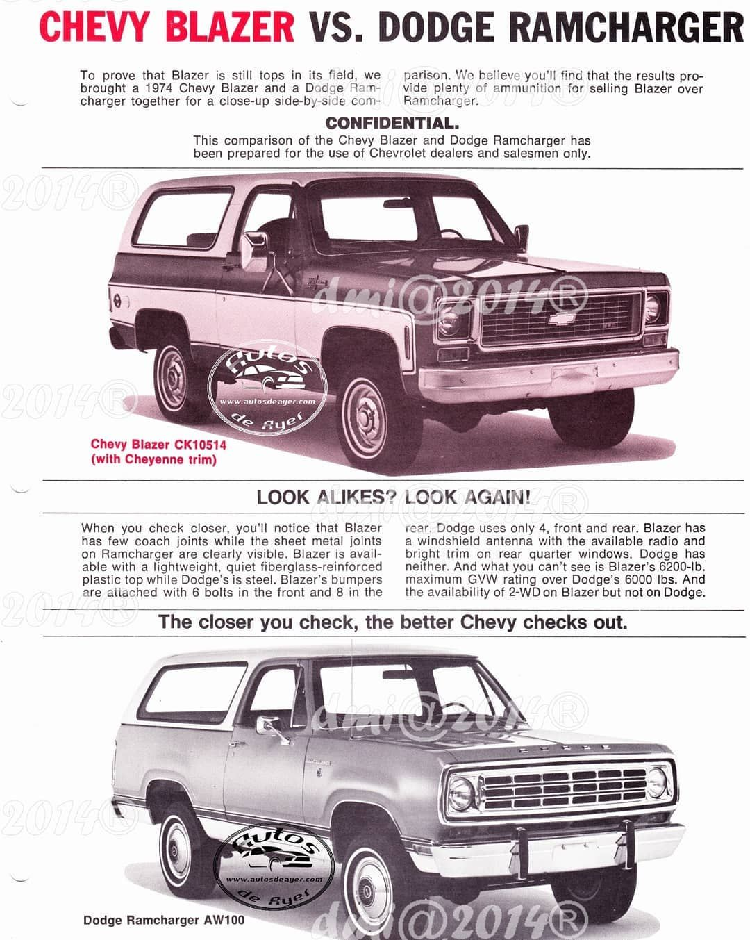 73 Chevrolet Blazer Vs Dodge Ramcharger Material Used For