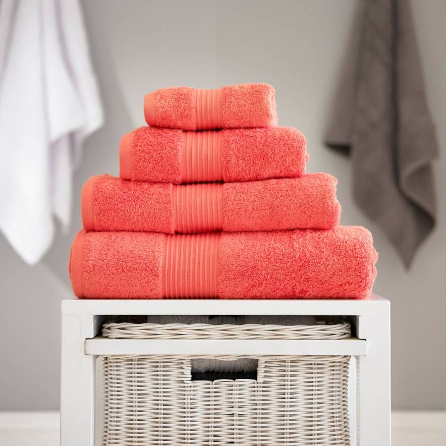 Deyongs Pima Cotton Bath Towel Coral In 2020 Towel Hand Towels