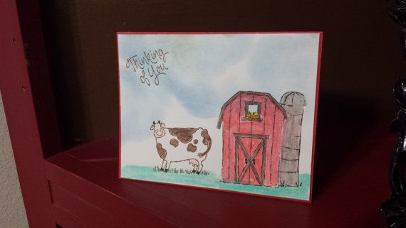 Thinking of you Handmade Farm Card by jennrainescreations on Etsy