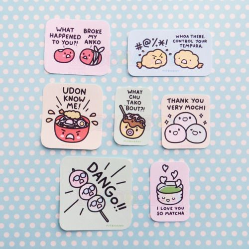 Japanese Food Pun Stickers😂<3  #food #pun #kawaii #japan #colorful #jokes #healthysnacks #funny