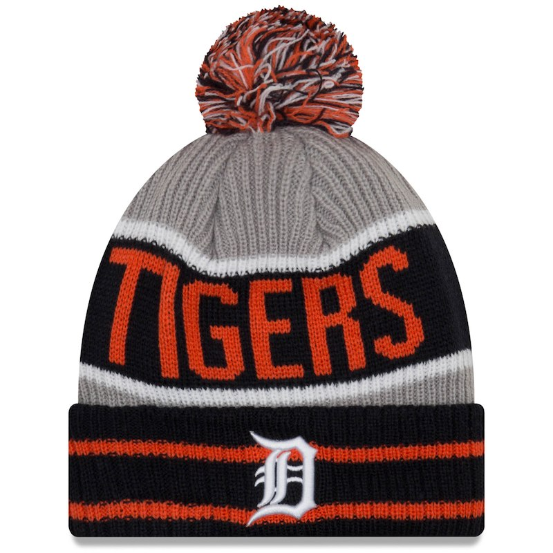d3d29fc8bc4 Detroit Tigers New Era Banner Block Cuffed Knit Hat With Pom – Navy ...